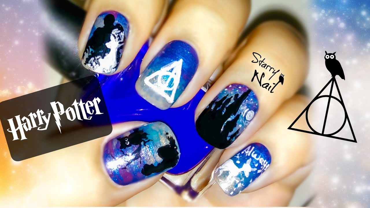 Harry Potter And The Deathly Hallows Nail Art Tutorial Youtube