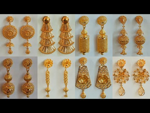 7ecc3dac7d7faa Latest Party Wear Gold Earrings Designs 2018 With WEIGHT and PRICE - YouTube