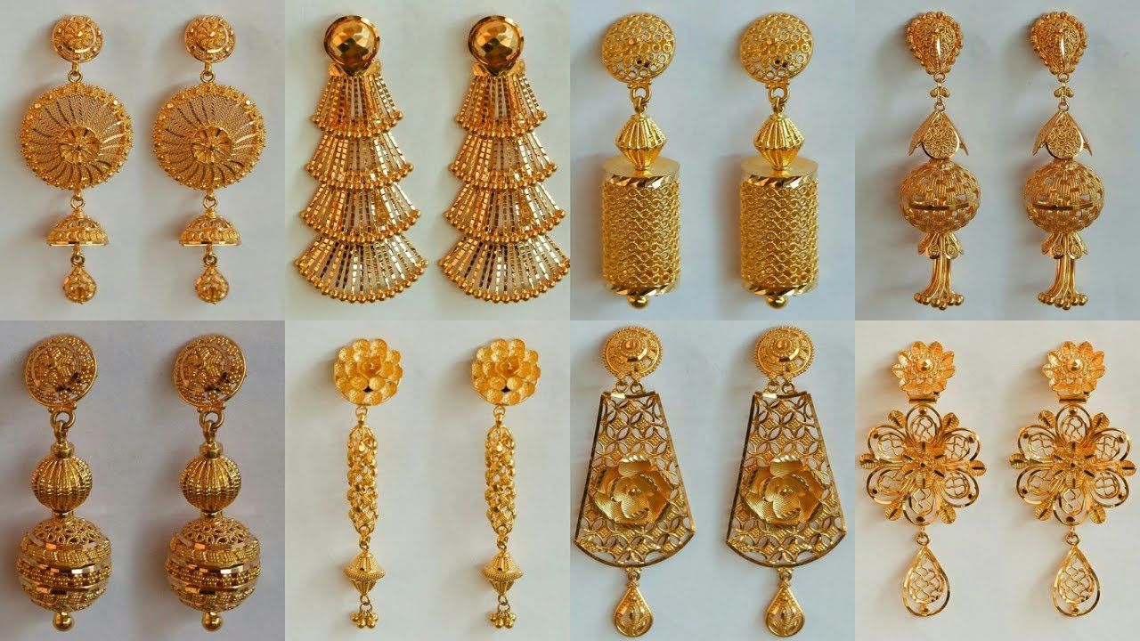 Latest Party Wear Gold Earrings Designs 2018 With Weight And Price
