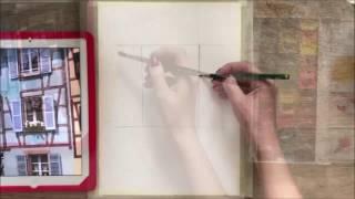French window watercolor tutorial. Французское окошко, акварельный урок