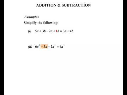 Year  And  General Maths  Algebraic Expressions Addition And