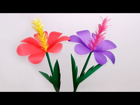 DIY Stick Flower Making with Color Paper| Stick Paper Flower for Home Decor|Jarine's Crafty Creation