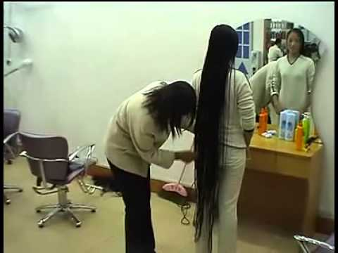 Zhang Jin Comb Her Floor Length Long Hair YouTube