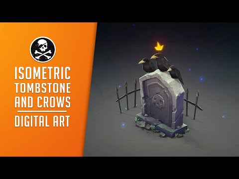 Isometric Tombstone and Crows ● Digital Drawing Process by SephirothArt