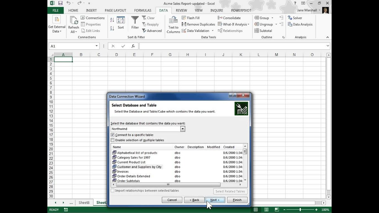 Excel 2013 Create a Power View Sheet Connected to an External Data Model