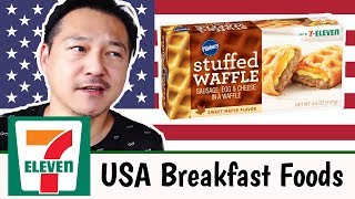 Japanese Try American 7-11 Food For The First Time (BREAKFAST)