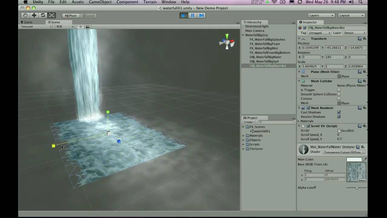 unityprefabs com waterfall prefab unity3d game development