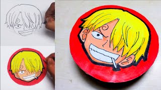 DIY - How To Draw Sanji And Make A Badge Using Cardboard And Pin