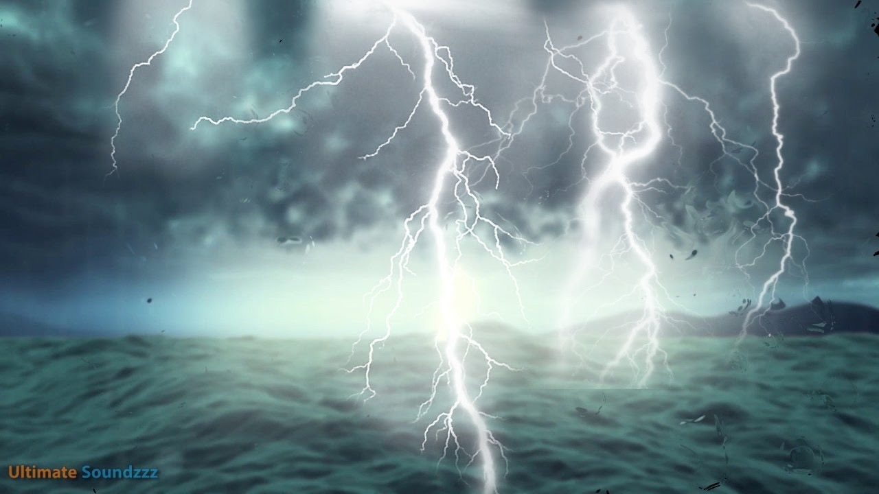 Thunderstorm At Sea With Heavy Rain Rainstorm Sounds For