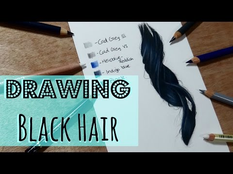 drawing-tutorial:-realistic-black-hair-in-coloured-pencil
