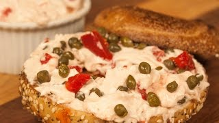 Bagel Brunch Spread Recipe With Roasted Red Peppers