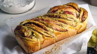Pistachio & Strawberry Jam Babka بابكا بالفستق و مربى الفراولة