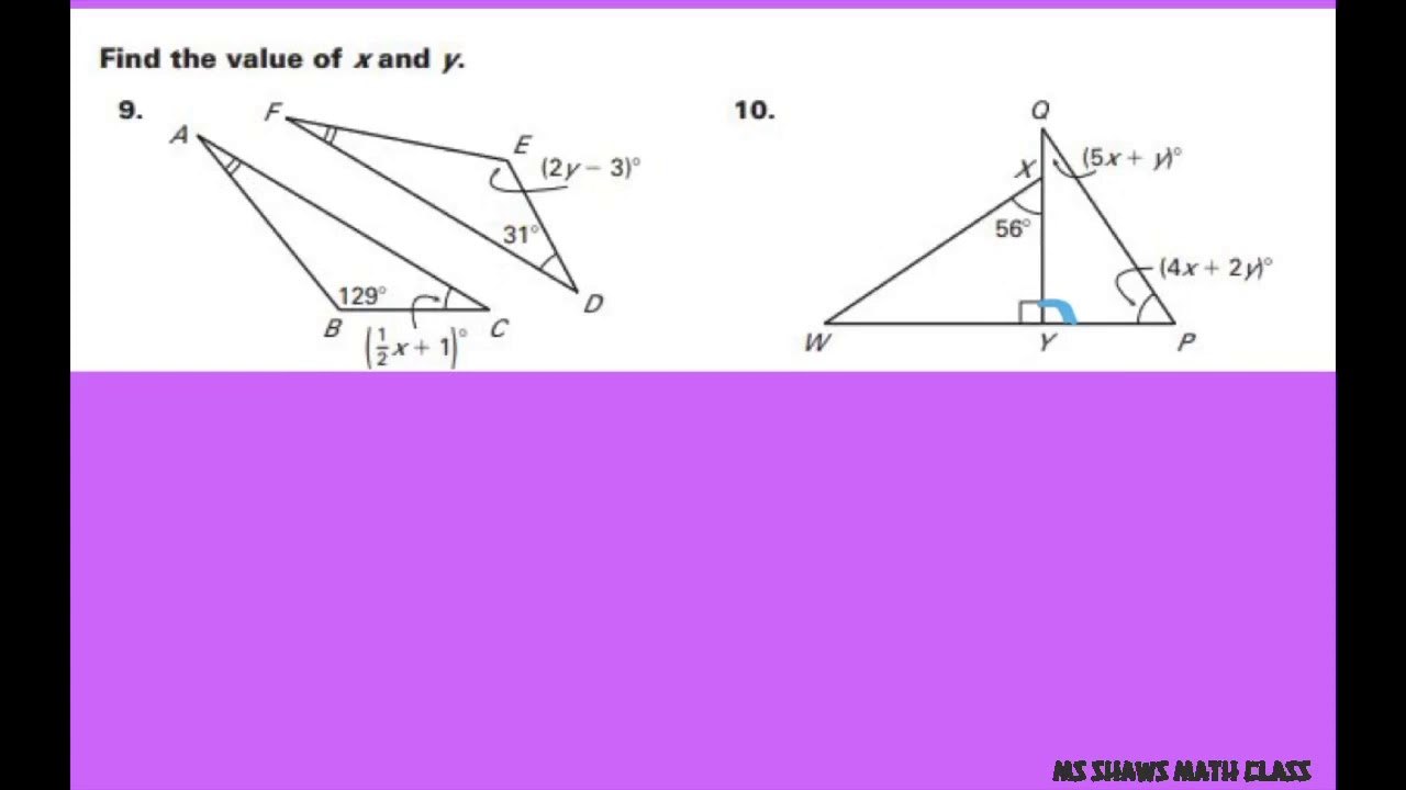 Find The Values Of X And Y Given Congruent Triangles System Of Linear Equations Youtube