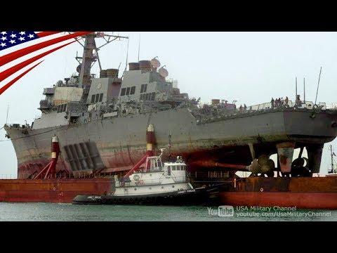 【船を船で運ぶ】巨大な運搬船に積み込まれる巨大な駆逐艦ジョン・S・マケイン