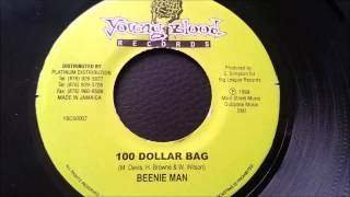 "Beenie Man -100 Dollar Bag - Young Blood 7"" w/ Version"