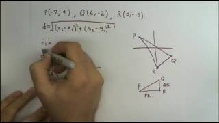 Determine if the poİnts P, Q, and R are vertices of a right triangle