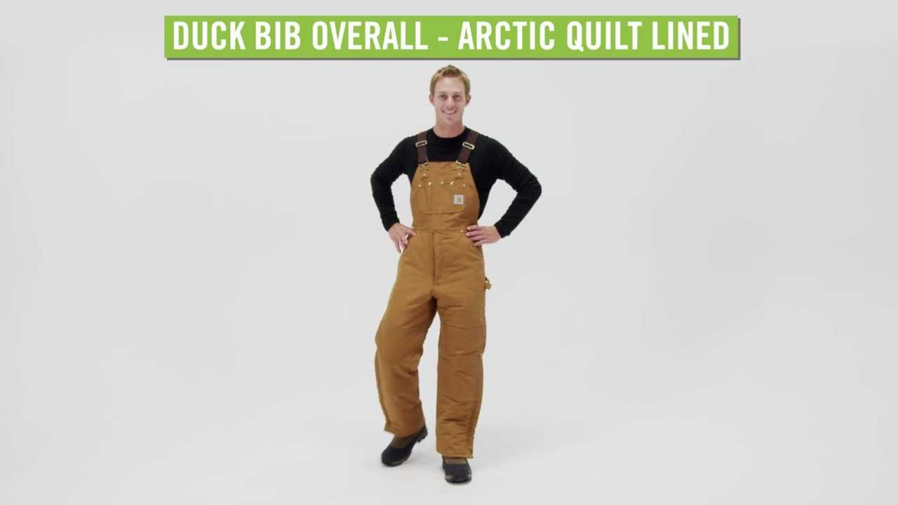 Carhartt Men's Duck Bib Overall - Arctic Quilt Lined - YouTube : carhartt quilt lined duck bib overalls - Adamdwight.com