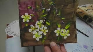 몸아파 손떠는 여자 포크아트 매화꽃과 매실열매 그리기-…