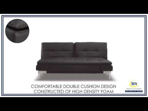 Serta Bonded Leather Convertible Sofa Most Comfortable Sectional Bed Dream Valencia Java From The Futon Shop
