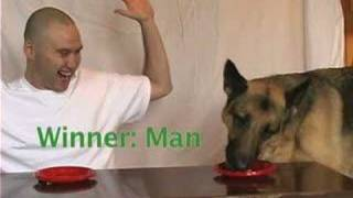 Dog vs Man: Eating competition
