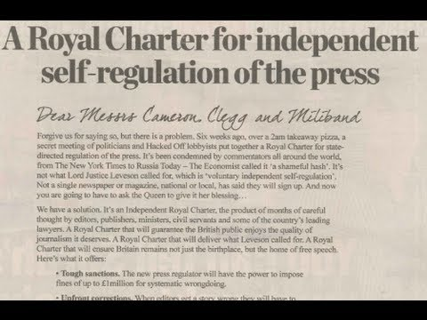 UK Press Regulation: New Royal Charter Won't Work