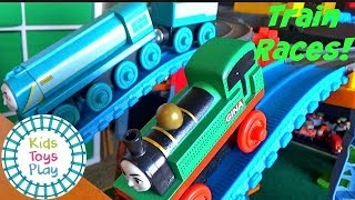 THOMAS & FRIENDS Toy Train Races | Train Crashes | Thomas and Friends Super Station | Video for Kids