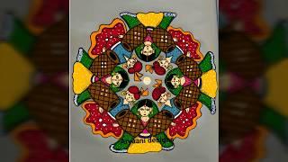 Easy rangoli...easy steps..Navaratri special rangoli..15 to 1 ..dusharra rangoli..dholaks rangoli