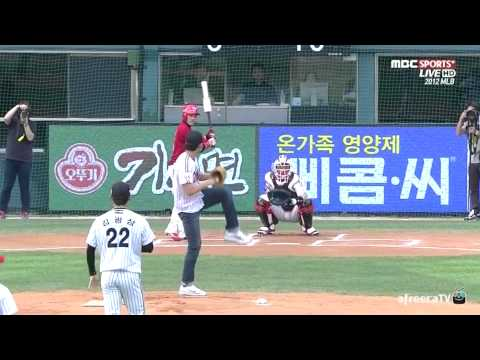 Actor Lee Tae-sung throws 74 mph first pitch