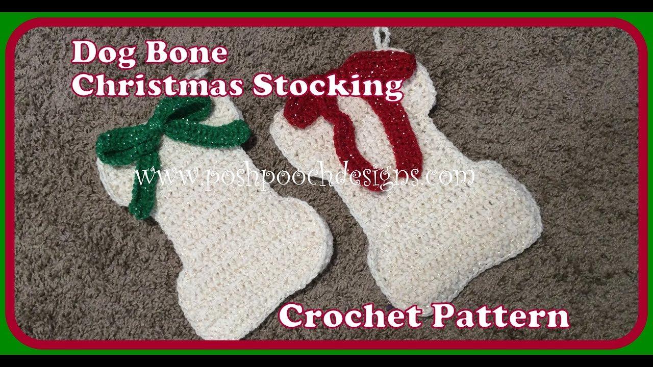 Dog Bone Christmas Stocking.Dog Bone Christmas Stocking Crochet Pattern