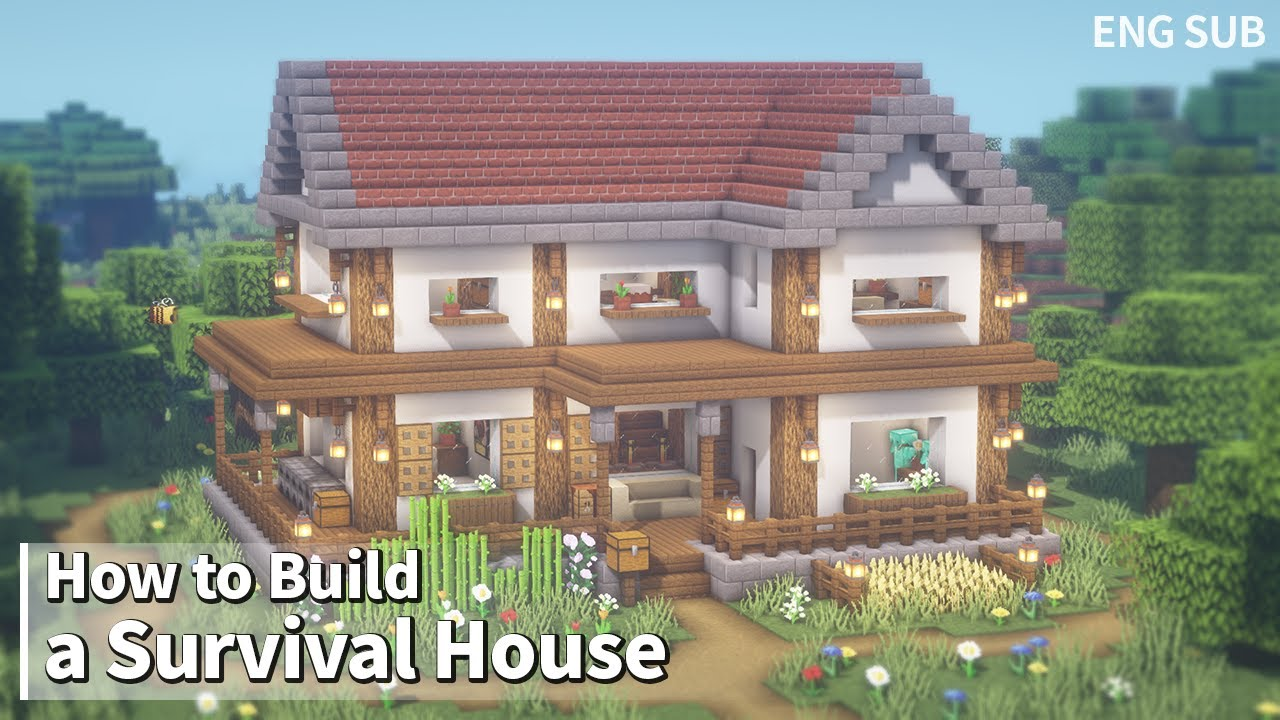Minecraft: How To Build a Survival House Tutorial (Building Tutorial) (#15) | 마인크래프트 야생건축, 집짓기, 인테리어