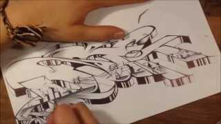 "graffiti sur papier - graffiti sketch / Round 2 / ""District"" / Monkey VS Azaz"