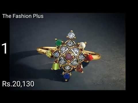 Gold and Navaratna Stone Rings with PRICE By BLue Stone