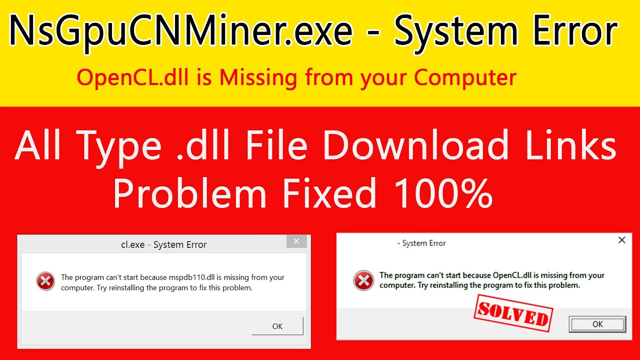 NsGpuCNMiner.exe – System Error | CL.dll is missing | Fixed | Hindi