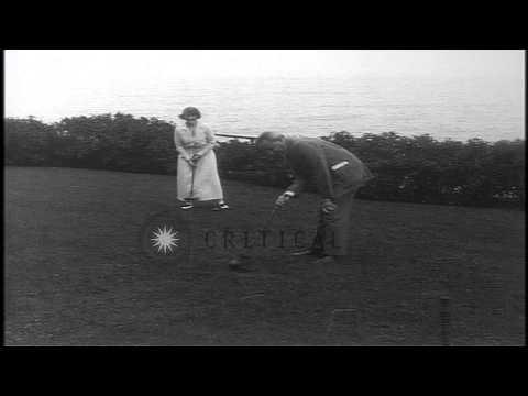 Florenz Ziegfeld and Billie Burke play croquet in California, United States. HD Stock Footage