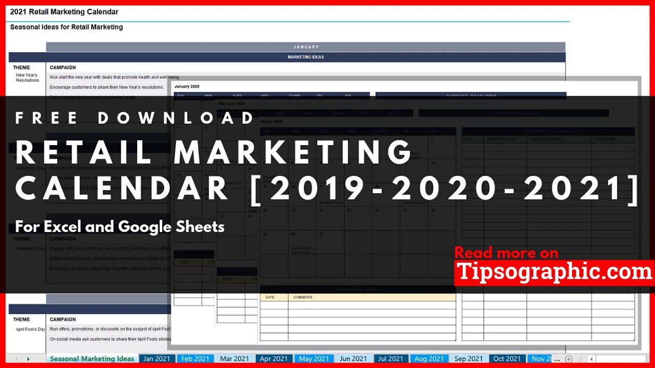 Retail Marketing Calendar Template For Excel Free N Printable Http Bit Ly 2l17wtr Youtube