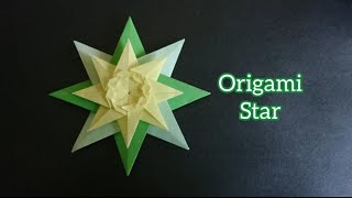Origami 8-Point Star with Leaf 折纸八角星