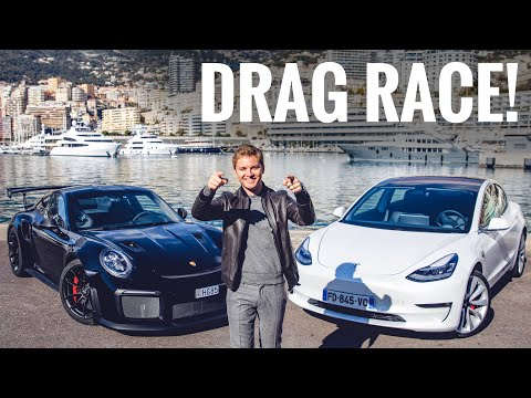 TESLA MODEL 3 VS PORSCHE GT2 RS DRAG RACE ON MONACO PIER!! | NICO ROSBERG | eVLOG