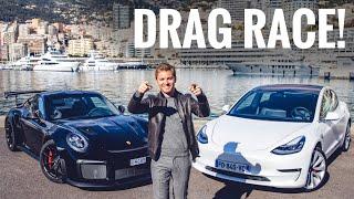 TESLA MODEL 3 VS PORSCHE GT2 RS DRAG RACE ON MONACO PIER!! | NICO ROSBERG | eVLOG
