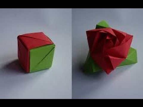 How To Make An Origami Rose Cube Youtube