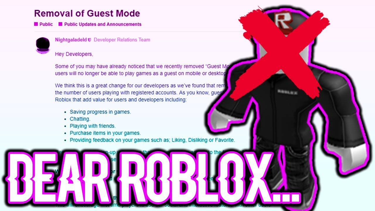 Roblox Needs To Change This Immediately - youtube roblox guests removed