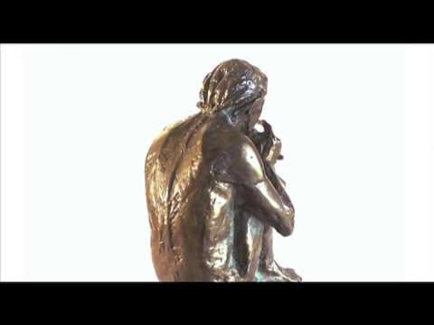Sm BRONZE Classical SCULPTURE Antique RODIN-Style NUDE Statue FLUTE Musician VTG