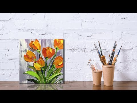 Paint Tulip flowers with Acrylic Paints and a Palette Knife PART 3