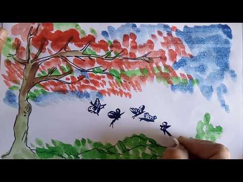Republic Day Project For Kids | Tricolour Landscape Painting, Easy Watercolour Landscape