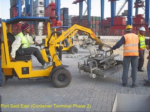 Probst Interlock laying machine VM203 at Port Said East port (Egypt) ميناء شرق بور سعيد