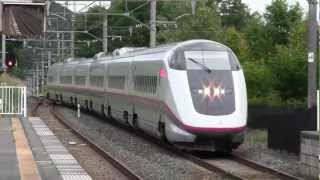 秋田新幹線E3系通過シーン 田沢湖線小岩井駅 こまち25号下り秋田行き