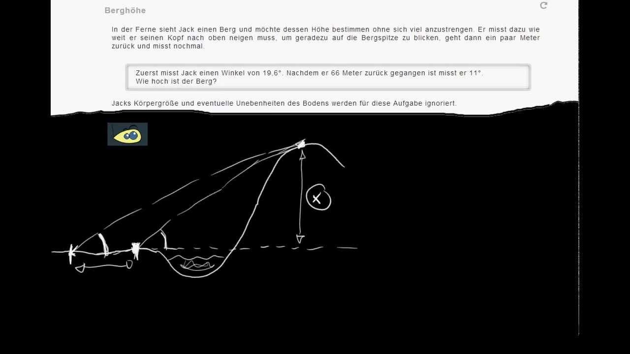 Anwendung Trigonometrie: Höhe eines Berges bestimmen #1 - YouTube
