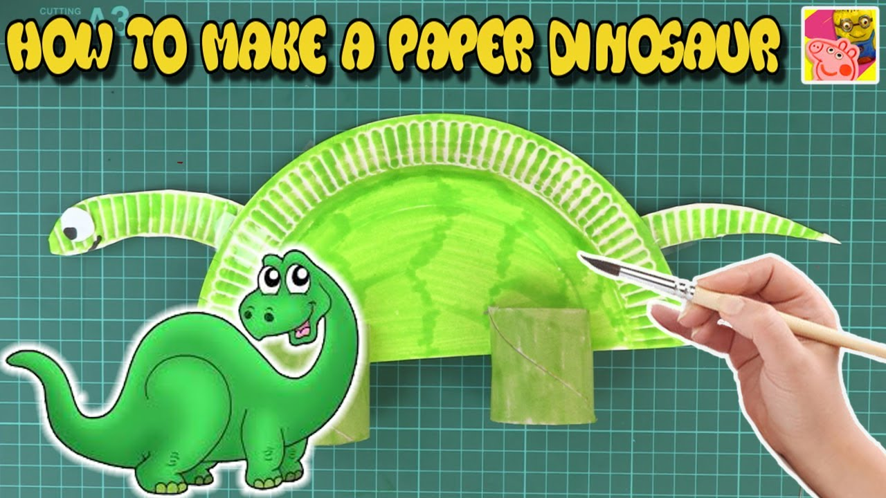 How To Make A Paper Plate Dinosaur | DIY Craft Ideas For Kids | (Tutorial Video) ? Crafty Kids  sc 1 st  YouTube : paper plate dinosaur - Pezcame.Com