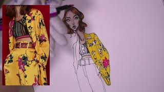 HOW TO DRAW FLORAL PRINT ON SILK SUIT. Etro | Fashion Illustration Tutorial