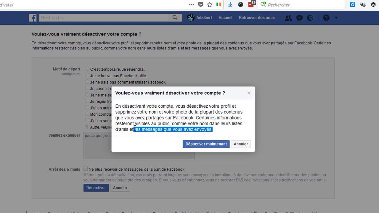 Facebook Comment Désactiver Son Compte Youtube