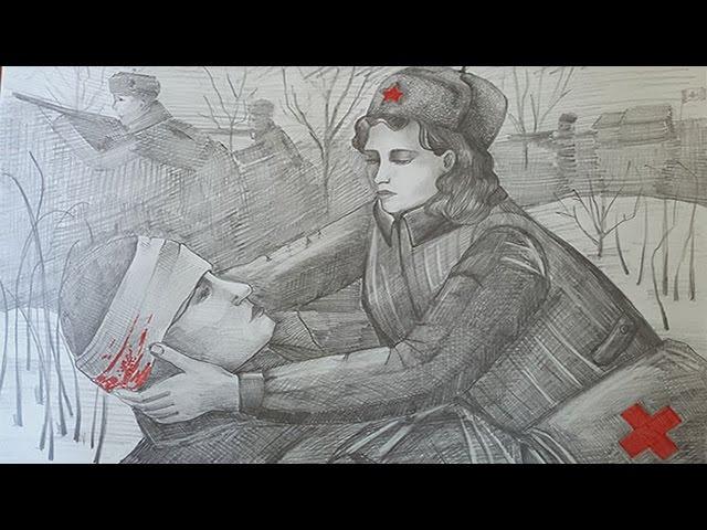 """Изображение предпросмотра прочтения – «Видеостудия """"ВКино""""» читают произведение «Бинты» Ю.В.Друниной"""